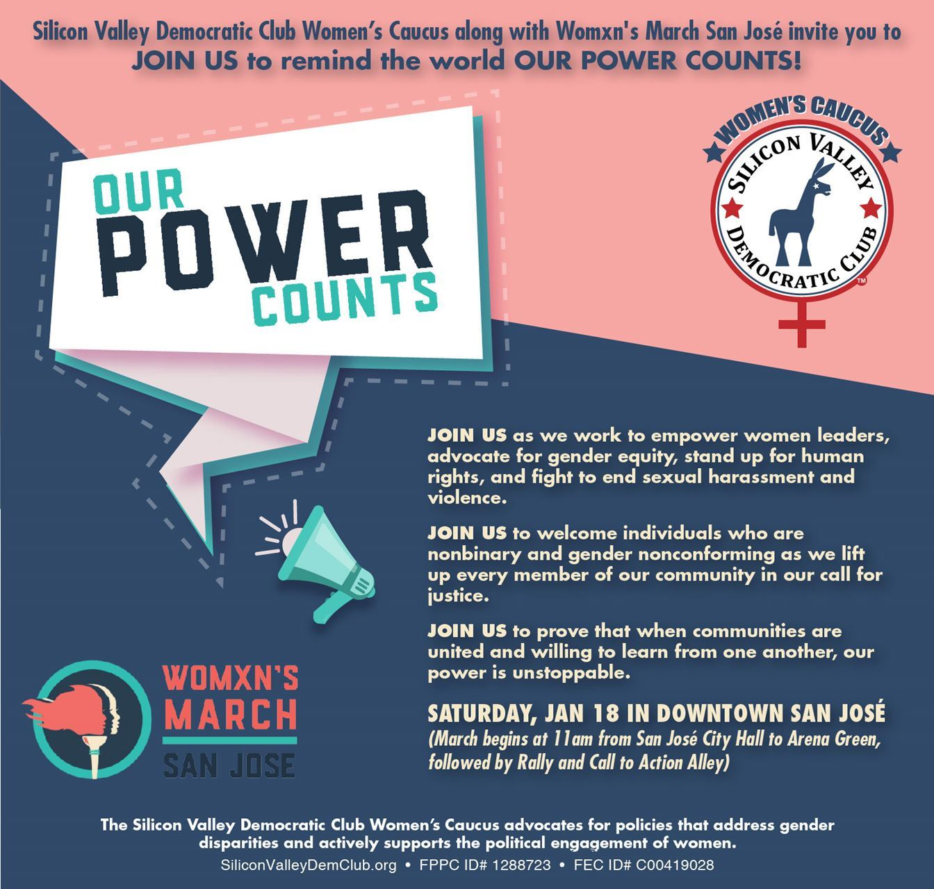 Our Power Counts - Womxn's March - Jan 18, 2020 at 11am in Downtown San Jose